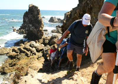 Hikers head up to view point.